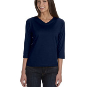 Ladies' Combed Ringspun Jersey V-Neck 3/4-Sleeve T-Shirt