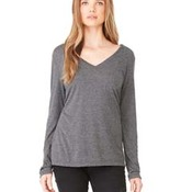 Ladies' Long-Sleeve Flowy V-Neck